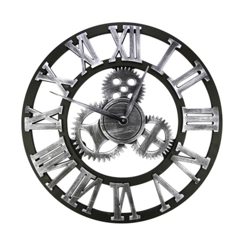 Retro Decorative Wag-On-The-Wall 3D Vintage Steampunk Gear Handmade Wooden Wall Clock