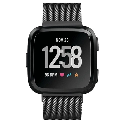 Fitbit Versa Bands Stainless Steel Bracelet Strap with Unique Magnet Lock Accessories Bands for Women Bands for Men Wristbands for Fitbit Versa