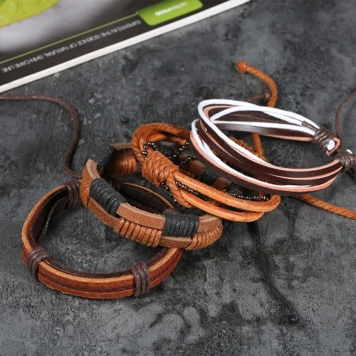 Fashion Jewelry Bracelet Unisex Braided Bracelet Retro Leather Bracelets 1#