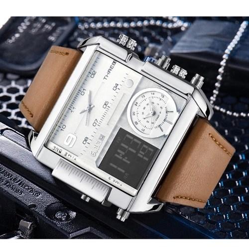 6.11 Men Leather Band Rectangle Dial Analog Quartz Watches