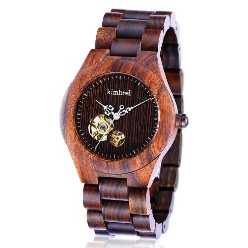 Kimbrel de moda estilo de los hombres de las mujeres unisex de madera de madera de sándalo mecánico automático de cuerda automática del reloj del reloj resistente al agua 10m 2019