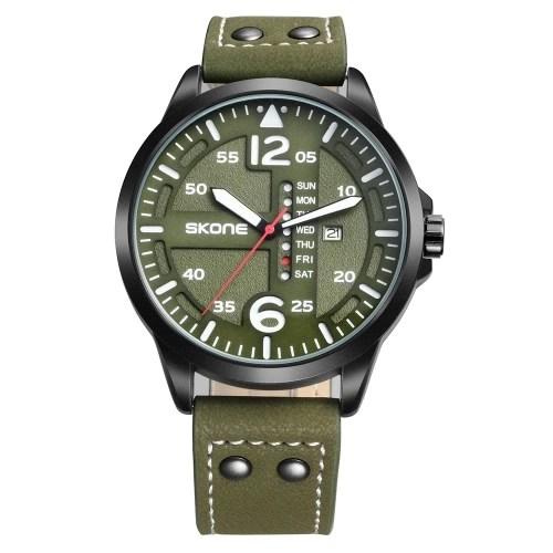 SKONE Fashion Casual Quartz Watch 3ATM Water-resistant Watch Luminous Wristwatch Male Calendar Week