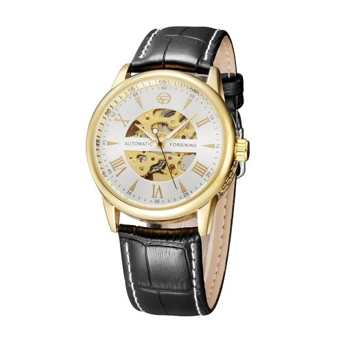 FORSINING See-through Skeleton Self-winding Automatic Mechanical Watch PU Leather Watchband Delicate Business Analog Man Wristwatch