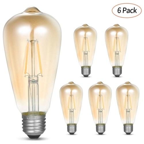 AC200-240V 6 Pcs Vintage 4W ST64 LED Filament Light Bulbs