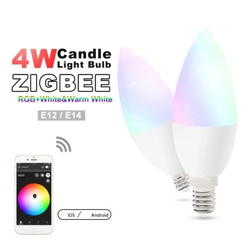 GLEDOPTO AC100-240V E12 4W RGB+White and Warm White Intelligent Bulb Zigbee Candle Lamp