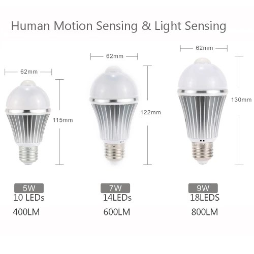 LED PIR Human Motion Light Sensor Bulb 10 LEDs 5W 400LM E26/E27 Isolated Constant Current Driver Bedroom Pathway Desk Cabinet Bathroom Lamp Indoor Use White