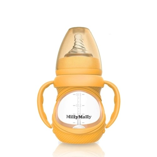 Baby Glass Bottle Anti Colic Wide Neck With Detachable Handle Feeding Bottle