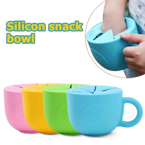Baby Infant Snack Bowl Silicone Cup Kid Feeding Food Bowl Handle No-Spill Snack Storage Container Children Plate Tableware Blue