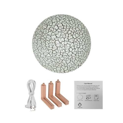 Rechargeable Colored 3D Moon Light LED Lamp with Stand