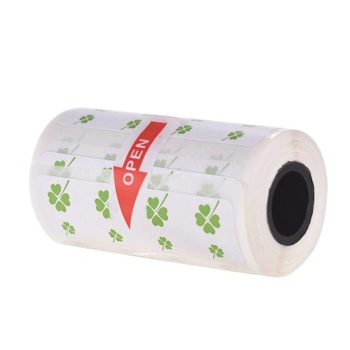 Cute Cartoon Direct Thermal Labels Roll 57*30mm(2.17*1.18in) Strong Adhesive Sticker Clear Printing for PeriPage A6 Pocket BT Thermal Printer 1 Roll