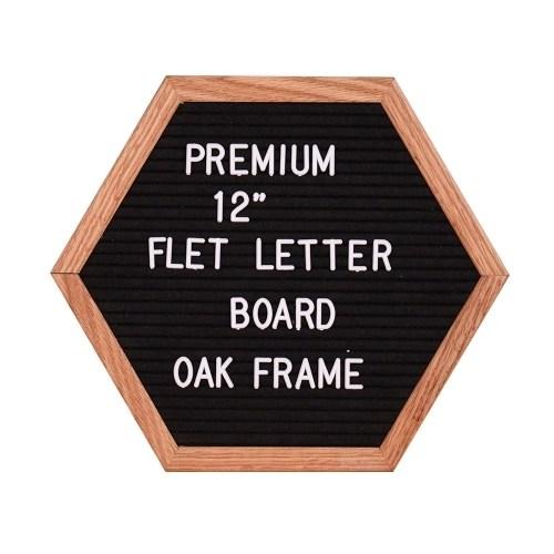 12 Felt Letter Board Unique Hexagon Sign Message Home Office Decor Board Oak Frame