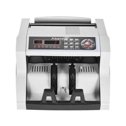 Aibecy Multi-divisa Contador de billetes con UV / MG / MT / IR / DD Detector de billetes falsificados Máquina de recuento de dinero en efectivo automático 14 Teclas Pantalla LCD Pantalla externa para el dólar EE.UU. Euro Pound AUD HKD Rublo