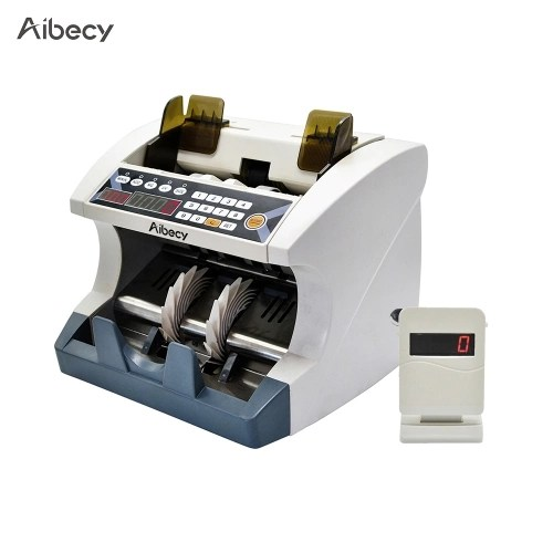 Aibecy Multi-Currency Automatic Cash Banknote Money Bill Counter Counting Machine with UV MG Counterfeit Detector External Display for EURO/USD/GBP/AUD/JPY/KRW