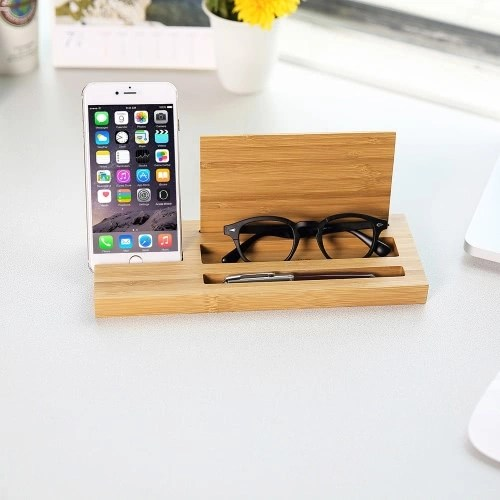 Desk Multifunctional Bamboo Phone Charging Stand Pen Holder Glasses Box for iPhone 7 Plus Samsung S8+