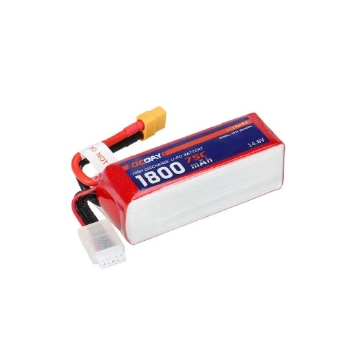 OCDAY 14.8V 1800mAh 75C 4S High Discharge LiPo Battery with XT60 Plug for RC 150-280 Racing Quadcopter QAV180 QAV250 ZMR250 Drone