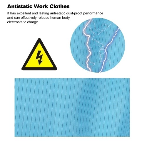 A Suit of Factory Anti-Static Safety Dust-proof Clothes Workwear Clean Room Protective Suit for Food Shop Medical Paint Spraying Workers