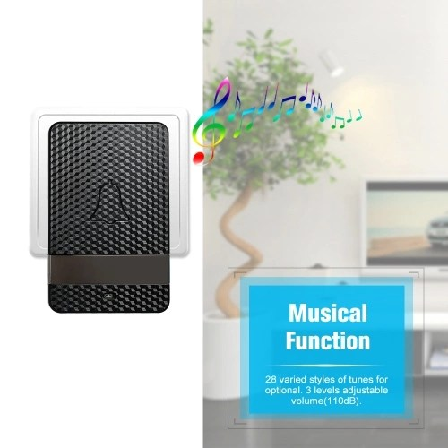 Wireless Dingdong Doorbell Self-powered 28 Ringtones 4 Levels Volumes Optional Long Distance No Battery Required 1 Transmitter + 2 ReceiverBlack