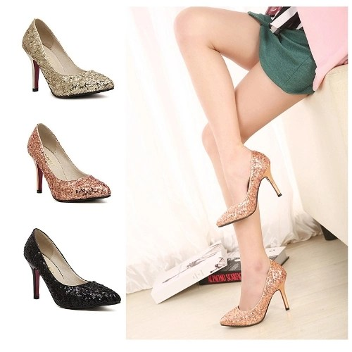Sexy Fashion Women Heels Sequin Shoes Pointed Toe Party Pumps Pink