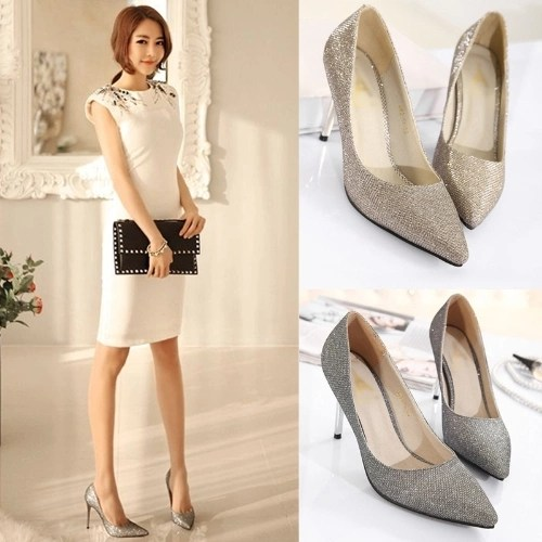 Fashion Women High Heels Pointed Toe Glittering Stilettos Shoes Party Pumps Silver