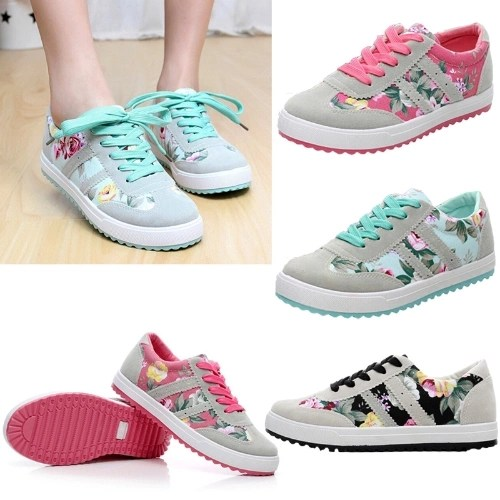New Fashion Women Canvas Sneakers Flats Floral Print Lace Up Low Top Plimsoll Shoes Blue/Pink/Black