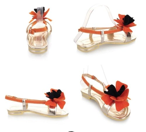 Fashion Summer Women Flat Sandal Slingback Shoes Flats Orange