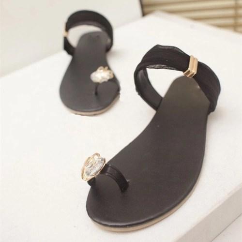 New Summer Women Girls Flats Rhinestone Toe-post Flip-flop Sandals Shoes Black