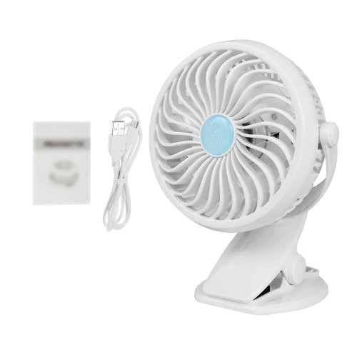 Mini Desk Fan Portable Handheld Clip on Fan Powered by Rechargeable Battery(not included) or USB