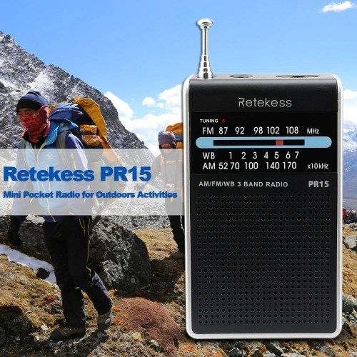 Retekess PR15 Mini Pocket Radio FM/AM/WB Tuning Radio Receiver NOAA Weather Warning for Outdoors Activities