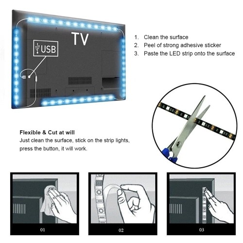 2Pcs LED Strip Light USB Powered 10ft Color Changing RGB 5050 30 LEDs Waterproof LED Flexible String Lights for TV Computer Background Light for Party Stage Clothing DIY Indoor & Outdoor Stair Decoration Bar & Restaurant Hotel Storefront Displays