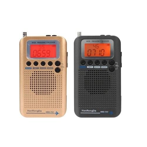 HanRongDa HRD-737 Portable Full Band Radio Aircraft Band Receiver FM/AM/SW/ CB/Air/VHF World Band with LCD Display Alarm Clock
