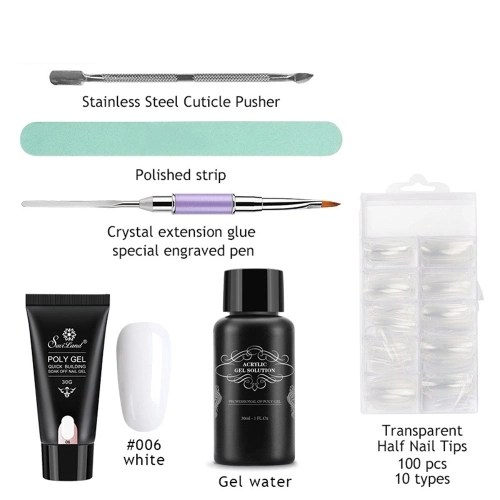 6Pcs/Set Poly Gel Nail Art Kit