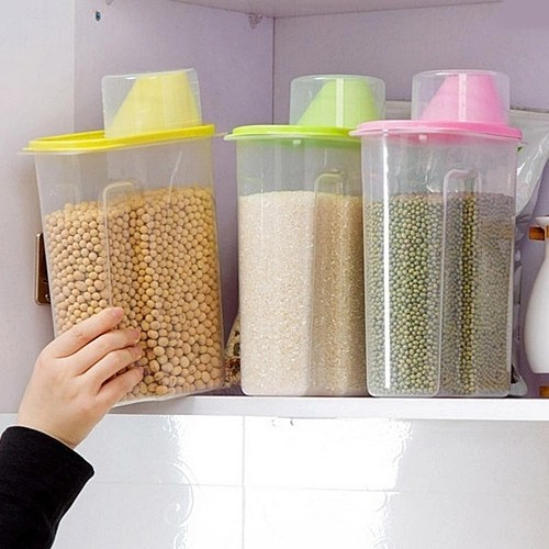 2.5L Dispenser Storage Box Holder Lid Foods Rice Pasta Container Hot