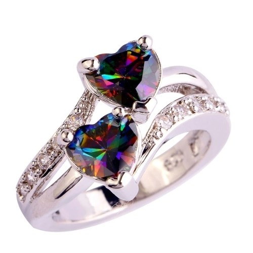lingmei Fashion Lover Jewelry Heart Cut Rainbow & White Topaz Gemstone Silver Ring Size  13