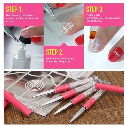 Abody Nail Art Painting Brush 11mm Crystal Acrylic Nail Art UV Gel Painting Line Brush Nylon Hair Pen Manicure Nail Liner Tool