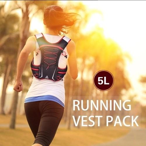 5L Multi Pocket Outdoor Reflective Running Vest Backpack Insulted Hydration Vest Pack Bag Marathon Jogging Hiking Cycling Backpack