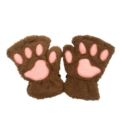 Women Super Lovely Bear Plush Cat Paw Claw Glove