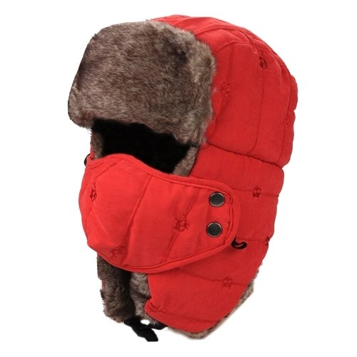 Women Men Water Repellent Warm Winter Trooper Hat with Mask Ear Flaps