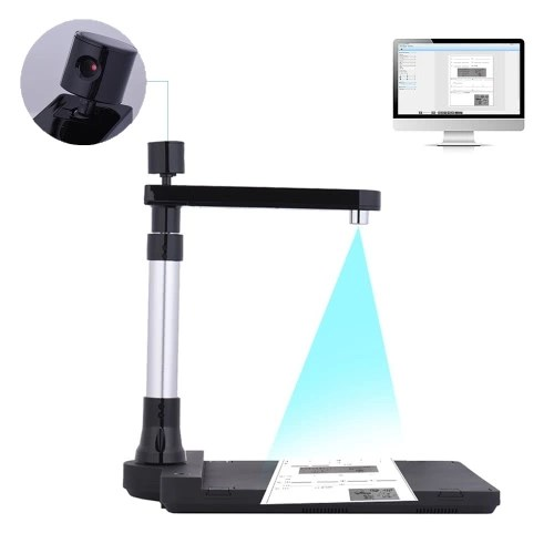 Escáner de documentos HD ajustable con dos lentes (10 megapíxeles y 2 megapíxeles) El tamaño de escaneo es hasta A3 (extendido) / A4