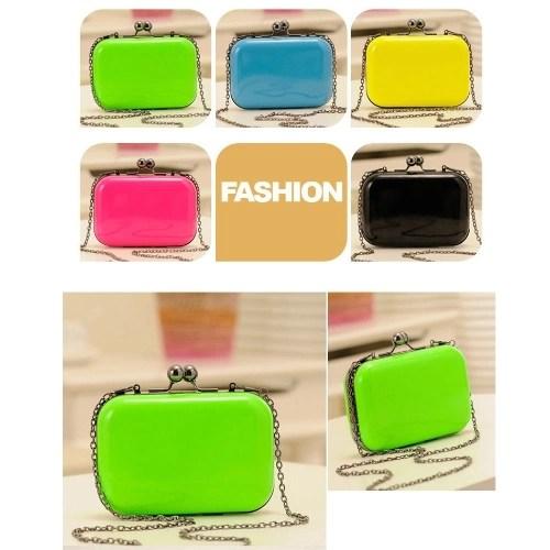 Fashion Women Lady Messenger Bag Shoulder Day Clutch Evening Bag Chain Candy Color Mini Box Crossbody Bag Black
