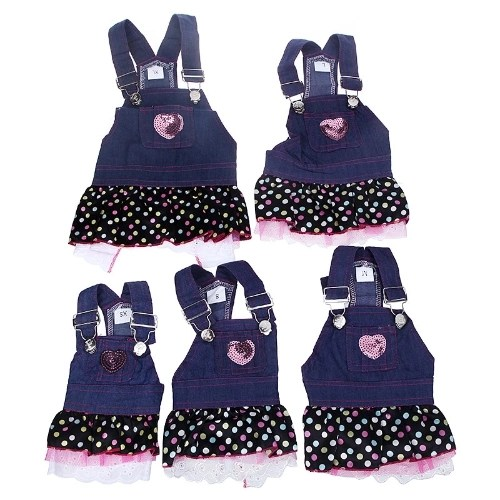 Fashion Pet Dog Clothes Jean Skirt Dress Lovely Lace Heart Apparel Costume