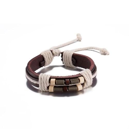Fashion Special Alloy Wood Charm Strape Leather Wristband Unisex Bracelet