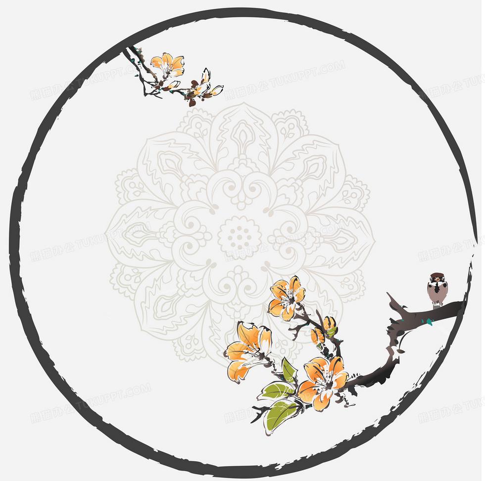 中国传统水墨花纹边框背景素材背景图片素材免费下载_ai格式_3000*2979像素_熊猫办公