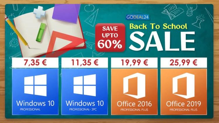 Windows 10 e Office ai minimi storici con le offerte Back to School di GoDeal24