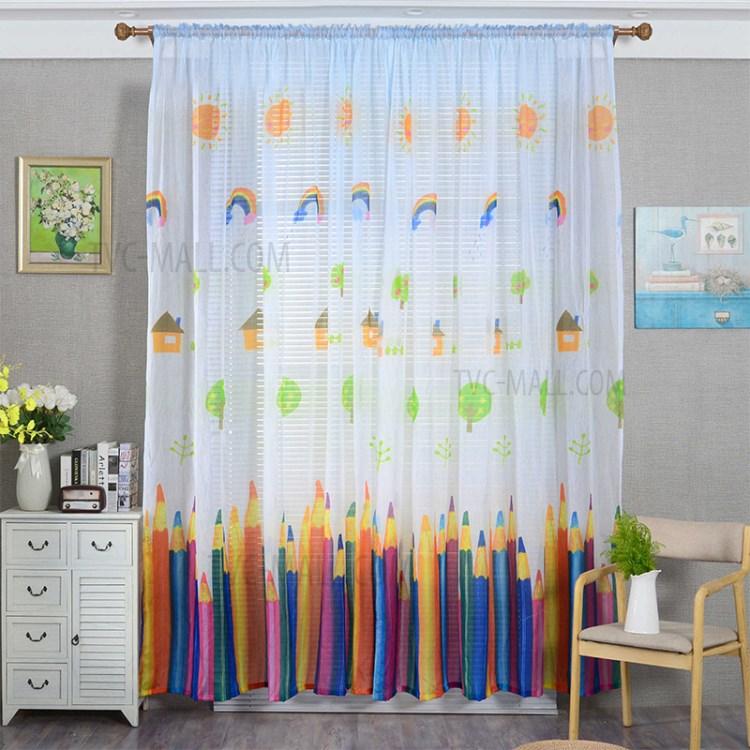 cartoon crayon pattern window curtain rod pocket living room curtain size 200 x 270cm white