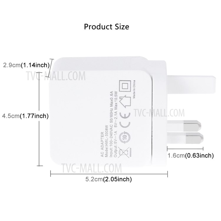 HAWEEL HWL-3308W 2.1A+1A Double USB Travel Wall Charger