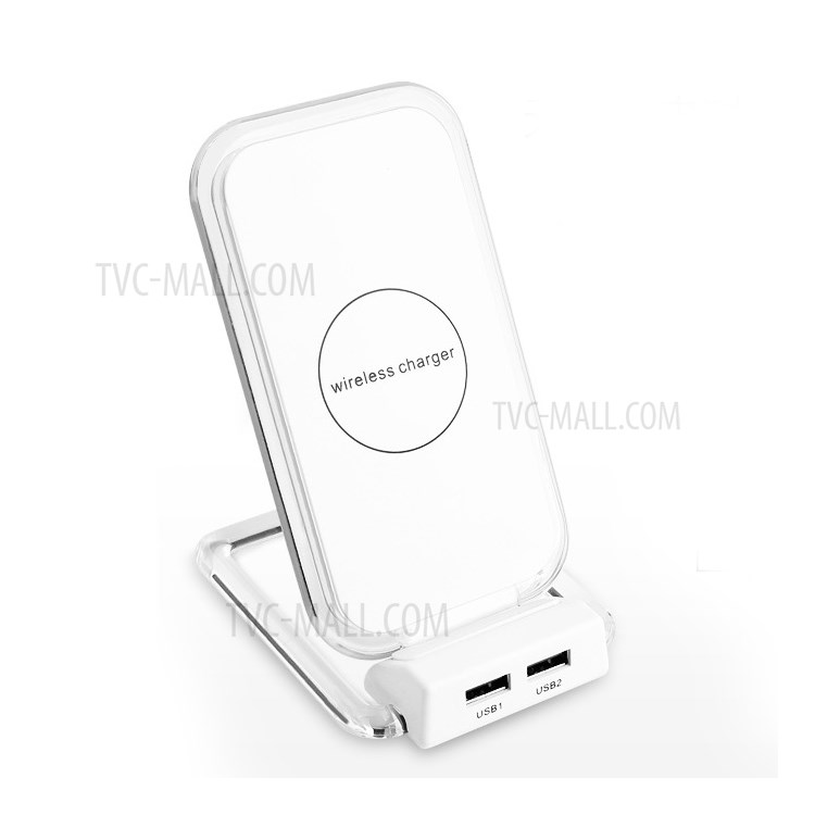 5W 2-coil Qi Wireless Charging Bracket with Dual USB Ports