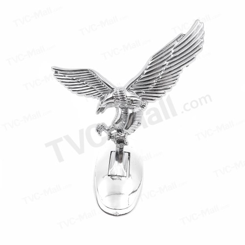 Silver Aluminum Alloy 3D Eagle Car Hood Decoration Badge