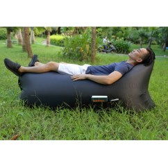 Air Bag Chair Custom Cushions Inflatable Sofa Couch With Side Pocket For Beach Camping Rest Black
