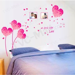 Wall Stickers Living Room Tree Trunk In Romantic Pink Heart Shaped Flowers Sticker Bedroom Decals 1