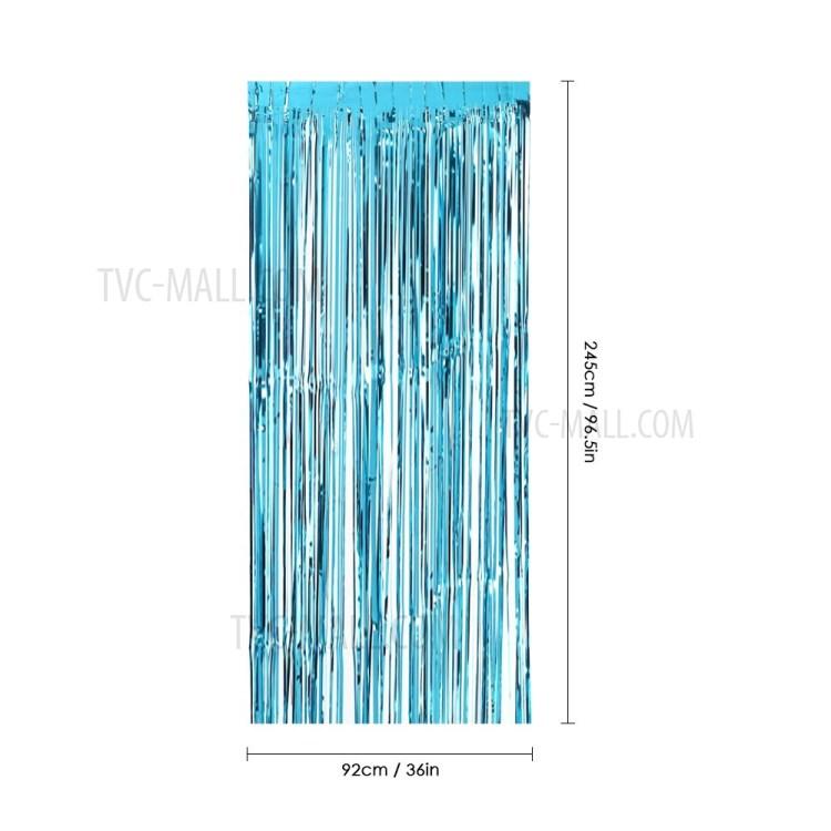 92x245cm tinsel shimmer window door curtain metallic foil fringe curtain wall backdrop panel decoration blue